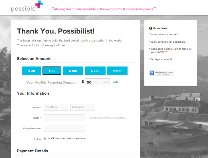Possible Donation Page, pass through parameters