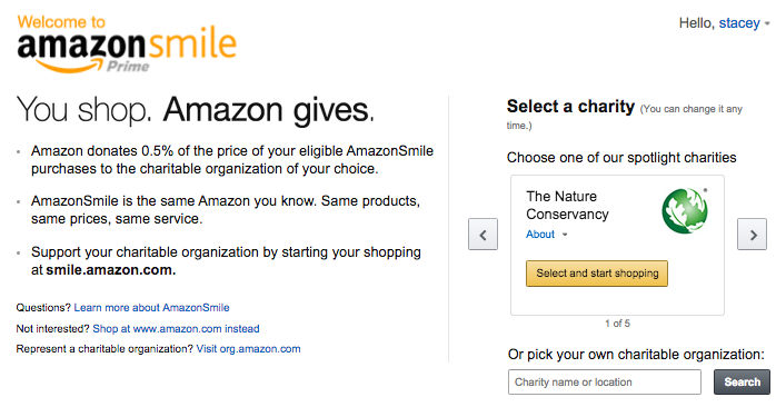 Amazon Smile select a charity screen