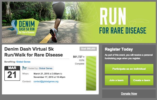 Fundraising page for Denim Dash 5K Run for Rare Diseases.