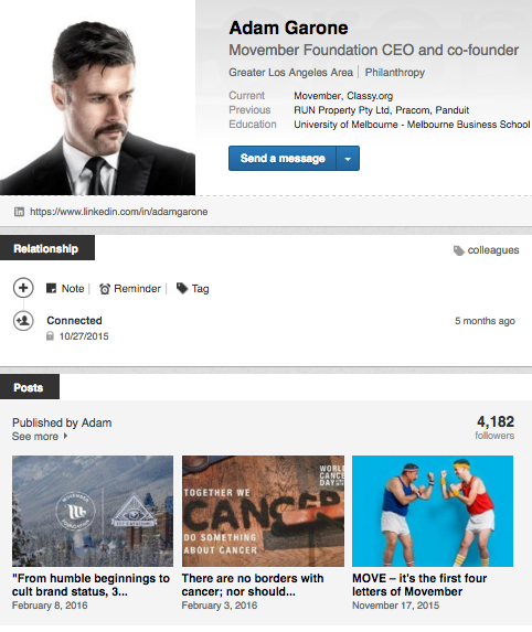 Adam Garone page, LinkedIn for nonprofits