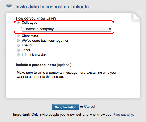 Linkedin for nonprofits example of a connection