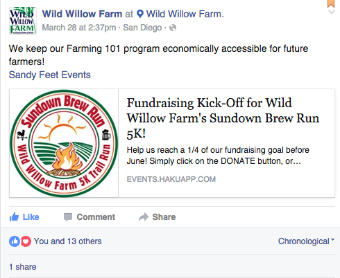 Wild Willow Farm supports and promotes their events as a social media strategy.