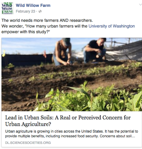 Wild Willow Farm shares industry news as one of their social media strategies.